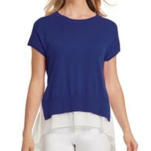 DKNY Blue White Chiffon-Underlay Crewneck Sweater
